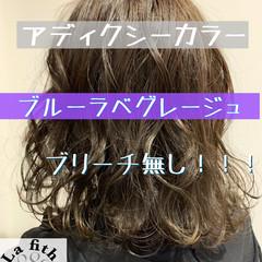 ブルーラベンダー ミディアム イルミナカラー ブリーチなし ヘアスタイルや髪型の写真・画像