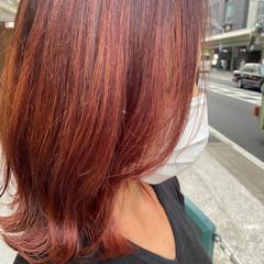 レイヤースタイル ナチュラル 大人ハイライト ピンク ヘアスタイルや髪型の写真・画像