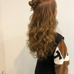 ヘアアレンジ お団子アレンジ ハーフアップ お団子 ヘアスタイルや髪型の写真・画像