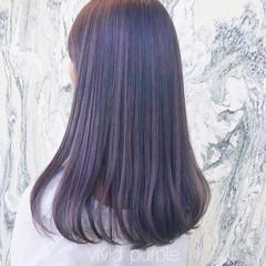 ミディアム ラベンダーカラー ラベンダーアッシュ パープル ヘアスタイルや髪型の写真・画像