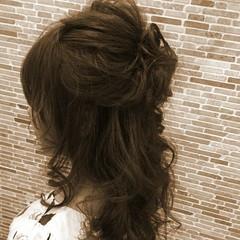 大人かわいい ハーフアップ セミロング フェミニン ヘアスタイルや髪型の写真・画像