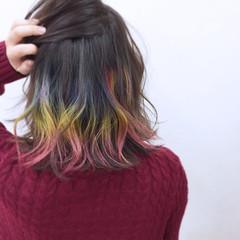 インナーカラー ミディアム カラフルカラー ストリート ヘアスタイルや髪型の写真・画像