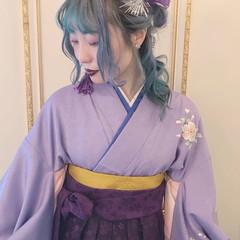袴 ナチュラル セミロング 卒業式 ヘアスタイルや髪型の写真・画像