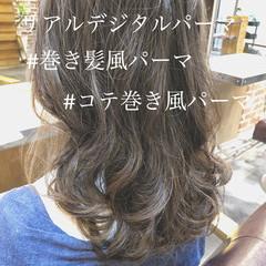 デジタルパーマ パーマ ヘアアレンジ セミロング ヘアスタイルや髪型の写真・画像