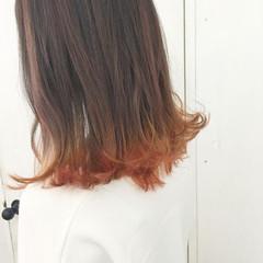 切りっぱなし アプリコットオレンジ ミディアム ボブ ヘアスタイルや髪型の写真・画像
