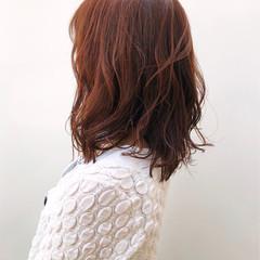 ナチュラル ミディアム アプリコットオレンジ オレンジベージュ ヘアスタイルや髪型の写真・画像