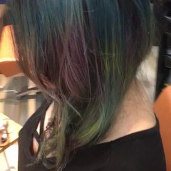 ダブルカラー ガーリー セミロング ハイトーン ヘアスタイルや髪型の写真・画像