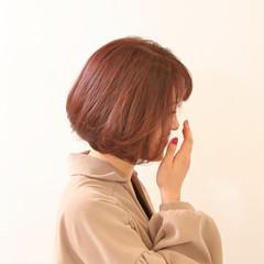 ボブ ベリーピンク ゆるふわセット ピンクブラウン ヘアスタイルや髪型の写真・画像