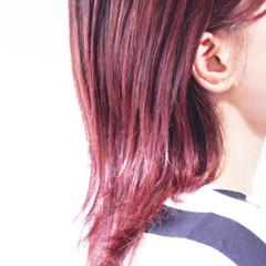 ピンク ラベンダーピンク セミロング ベリーピンク ヘアスタイルや髪型の写真・画像