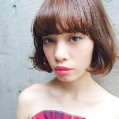 春 ガーリー ボブ ヘアスタイルや髪型の写真・画像