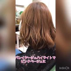 ナチュラル ピンク 春 ワンカール ヘアスタイルや髪型の写真・画像