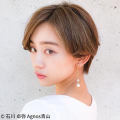 小顔ショート ナチュラル ショートヘア ハイライト ヘアスタイルや髪型の写真・画像