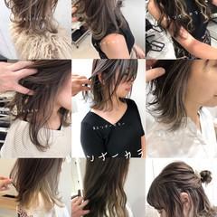 ラベージュ グレージュ 結婚式 セミロング ヘアスタイルや髪型の写真・画像