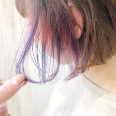 透明感カラー 切りっぱなしボブ フェミニン ボブ ヘアスタイルや髪型の写真・画像
