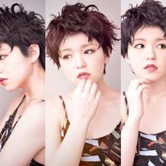 暗髪 ベリーショート ヘアアレンジ ショート ヘアスタイルや髪型の写真・画像