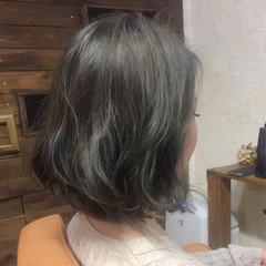 ボブ 色気 グレージュ アッシュ ヘアスタイルや髪型の写真・画像
