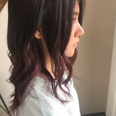 波ウェーブ ナチュラル セミロング ピンクアッシュ ヘアスタイルや髪型の写真・画像