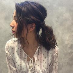 ヘアアレンジ ミディアム フェミニン 外国人風 ヘアスタイルや髪型の写真・画像