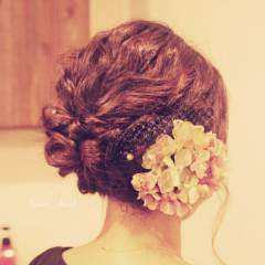 ヘアアレンジ コンサバ セミロング 結婚式 ヘアスタイルや髪型の写真・画像