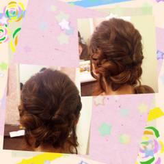 ヘアアレンジ 結婚式 くるりんぱ アップスタイル ヘアスタイルや髪型の写真・画像