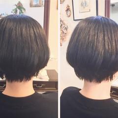 ショートボブ ナチュラル ストレート 縮毛矯正 ヘアスタイルや髪型の写真・画像