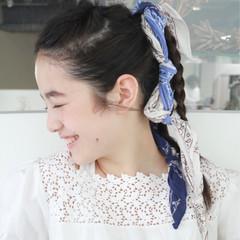 バンダナ ショート 大人かわいい セミロング ヘアスタイルや髪型の写真・画像