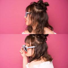 ヘアアレンジ ハーフアップ シースルーバング お団子 ヘアスタイルや髪型の写真・画像