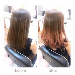 ピンクベージュ ピンクブラウン セミロング フェミニン ヘアスタイルや髪型の写真・画像