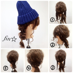 ヘアアレンジ ショート セミロング ニット ヘアスタイルや髪型の写真・画像