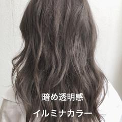 パーマ デジタルパーマ ラベンダーアッシュ ロング ヘアスタイルや髪型の写真・画像