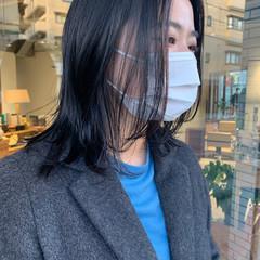 うぶ毛ハイライト ハイライト 極細ハイライト セミロング ヘアスタイルや髪型の写真・画像