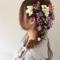 簡単ヘアアレンジ 結婚式 セミロング ヘアアレンジ ヘアスタイルや髪型の写真・画像