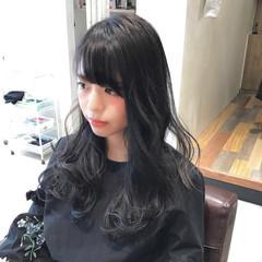 暗髪 セミロング ブラックグレー 暗髪女子 ヘアスタイルや髪型の写真・画像