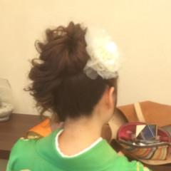 着物 袴 セミロング ヘアアレンジ ヘアスタイルや髪型の写真・画像