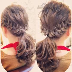 簡単ヘアアレンジ ストリート ウェーブ 編み込み ヘアスタイルや髪型の写真・画像