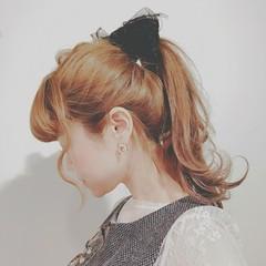 フェミニン 冬 簡単ヘアアレンジ ロング ヘアスタイルや髪型の写真・画像
