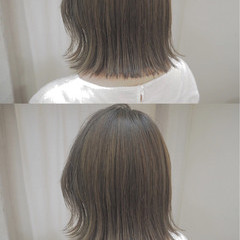 ナチュラル イルミナカラー ボブ 切りっぱなし ヘアスタイルや髪型の写真・画像