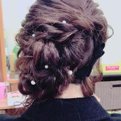 フェミニン パーティ ヘアアレンジ セミロング ヘアスタイルや髪型の写真・画像