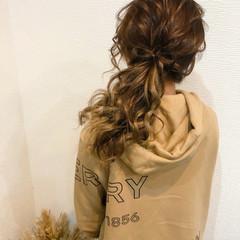ヘアアレンジ リボンアレンジ セミロング ヘアセット ヘアスタイルや髪型の写真・画像