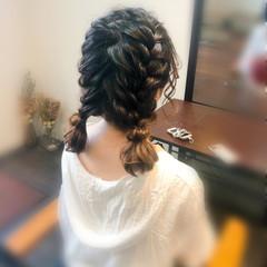 フェミニン ヘアセット ミディアム ツイン ヘアスタイルや髪型の写真・画像