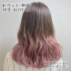 フェミニン ピンクブラウン ピンクラベンダー グラデーション ヘアスタイルや髪型の写真・画像