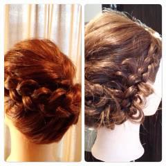 編み込み ヘアスタイルや髪型の写真・画像