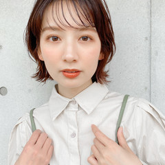ボブ 外ハネ モテ髮シルエット ナチュラル ヘアスタイルや髪型の写真・画像