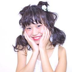 ヘアアレンジ 簡単ヘアアレンジ ガーリー セミロング ヘアスタイルや髪型の写真・画像