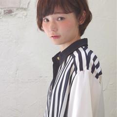 小顔 ショート ハイライト 似合わせ ヘアスタイルや髪型の写真・画像