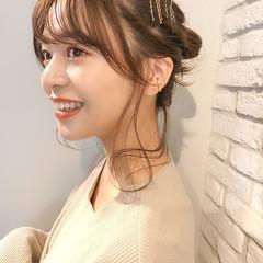 簡単ヘアアレンジ セミロング 透明感カラー 韓国ヘア ヘアスタイルや髪型の写真・画像
