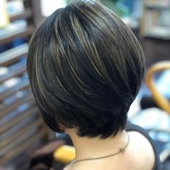 グラデーションボブ 大人グラボブ 大人ハイライト ボブ ヘアスタイルや髪型の写真・画像
