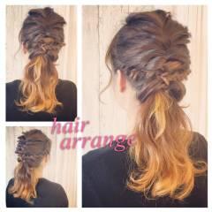 フィッシュボーン ガーリー ポニーテール ヘアアレンジ ヘアスタイルや髪型の写真・画像