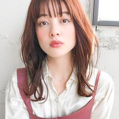 韓国ヘア 透明感カラー セミロング ゆるふわパーマ ヘアスタイルや髪型の写真・画像