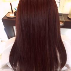 レッド コンサバ ピンク 外国人風 ヘアスタイルや髪型の写真・画像